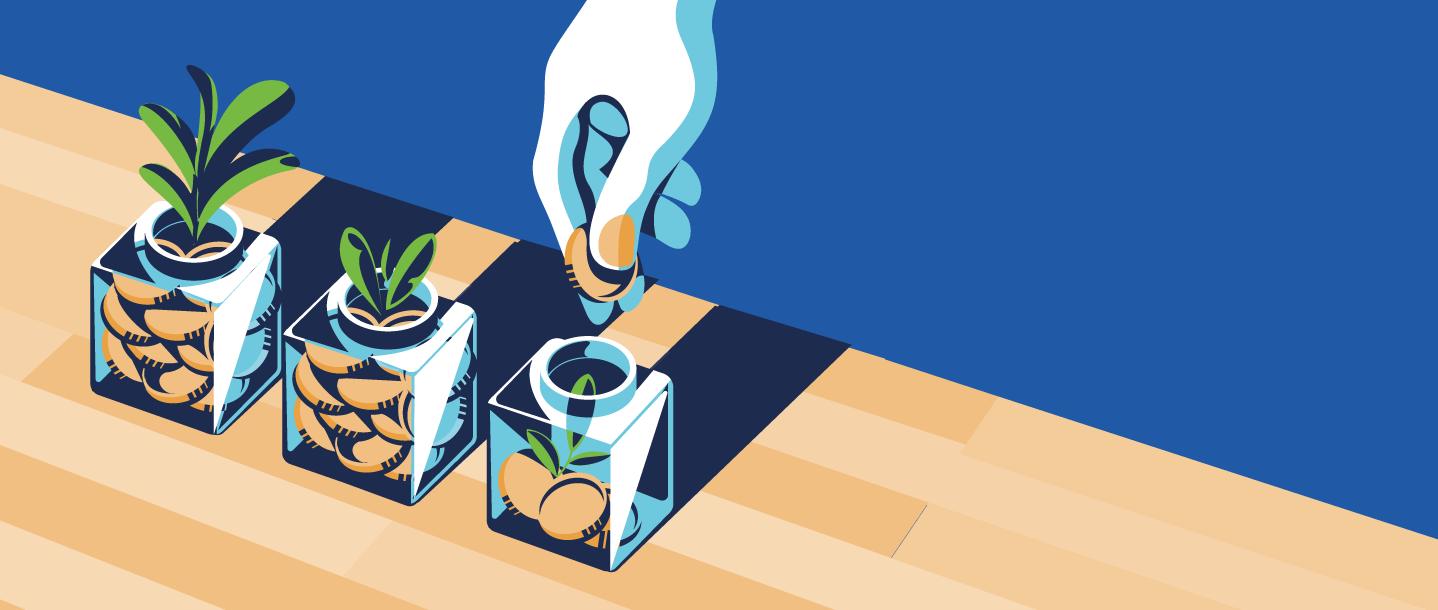Ilustração de mão colocando moeda em vasos e crescendo plantas.